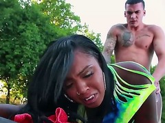 Enchanting ebony dolly Layton Benton moans while her white lover is drilling her delicious pussy outdoors