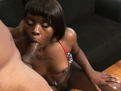 Two studs make an ebony slut moan in a hot interracial threesome