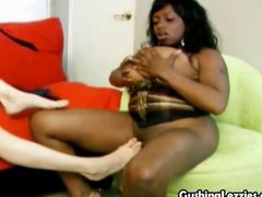 Redhead and black lesbians fuck each other silly to make pussies squirt