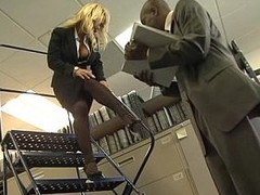 Busty blonde office girl gets fucked overwrought black cock