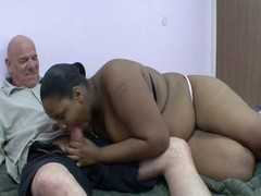 Busty fat ebony woman drilled by white dick