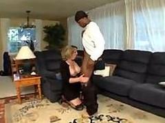 Ebony lad fucks milf blonde
